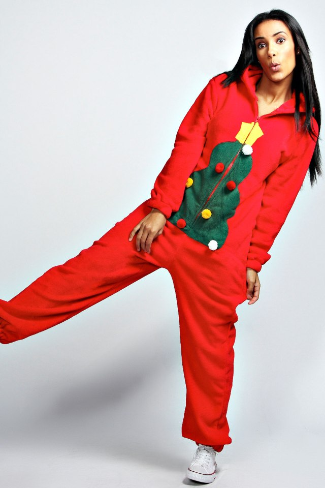 Holly Christmas Tree Onesie
